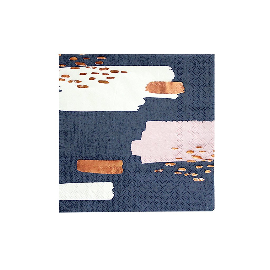 Navy Modern Abstract w Rose Gold Cocktail Paper Napkins - Birthday, Wedding, Showers Party Napkins - Harlow & Grey Erika (20 Count)