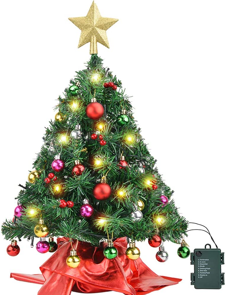 "Amagoing 24""/60cm Small Artificial Mini Tabletop Christmas Tree with 50 LED String Lights, 28 Christmas Ornaments and Wooden Base for Holiday Decoration"