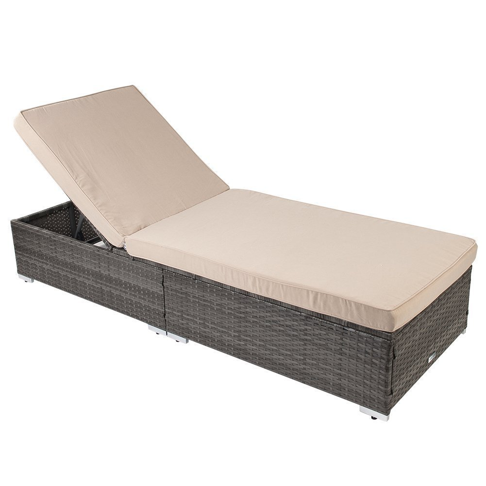 PatioPost Outdoor Adjustable Chaise Lounge Wicker Chair with Removable Padded Cushions, Beige/Gray by PatioPost
