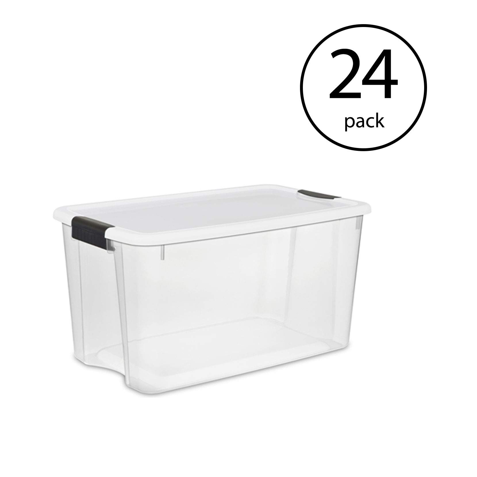 Sterilite 70 Quart Ultra Latch Storage Box with Lid & See-Through Base (24 Pack)