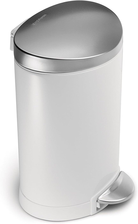 acciaio bianco cestino semi-rotondo con pedale simplehuman 6 L