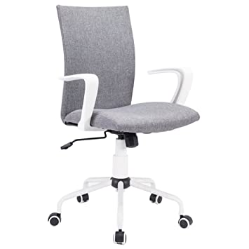 Amazon.com: Grey Computer Desk Chair Comfort White Swivel Fabric Home Office  Task Chair With Arms And Adjustable Height, Suitable For Computer Working  And ...
