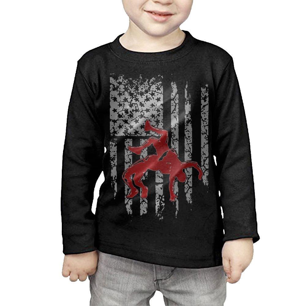 Arromper Wrestling American Flag Girls&Boys Long Sleeve T-shirts 5-6 Toddler Black