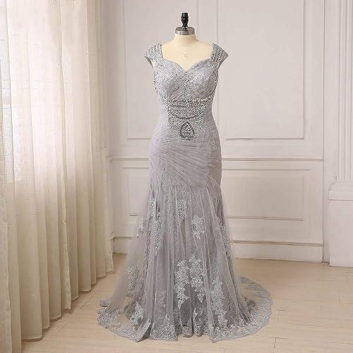 Amazon.com: Plus Size Mermaid Beaded Mother of the Bride Dresses ...