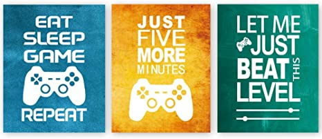 Amazon Com Unframed Funny Video Game Themed Wall Art Print Inspirational Quotes Art Painting Set Of 3 12 X 16 Gaming Poster Watercolor Artwork Canvas For Kids Boys Room Decor Everything Else