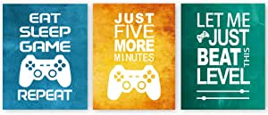 "Unframed Funny Video Game Themed Wall Art Print Inspirational Quotes Art Painting, Set of 3(12"" x16 ) Gaming Poster Watercolor Artwork Canvas for Kids Boys Room Decor"