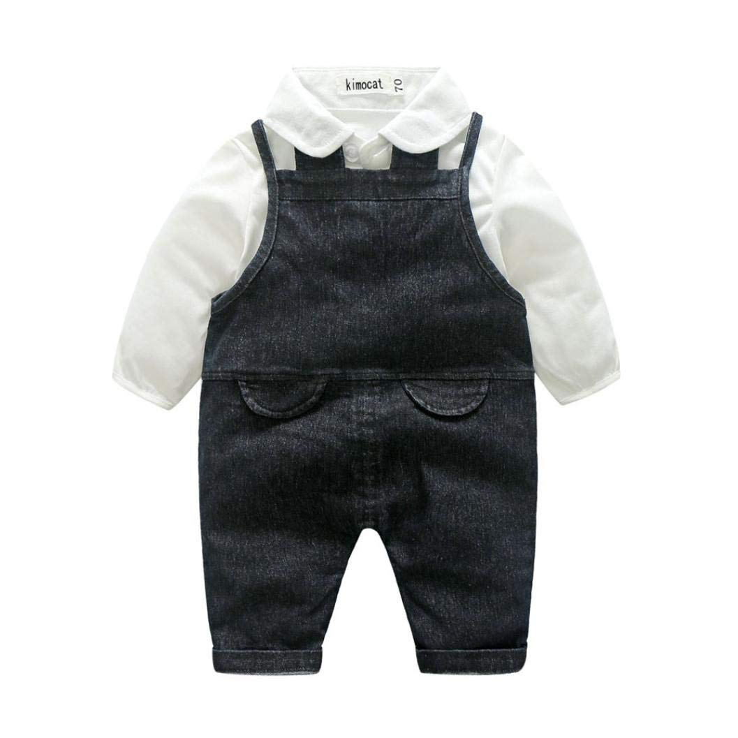 Little Boy Autumn Gentleman Sets,Jchen(TM) Infant Baby Kids Little Boy Gentleman Solid Long Sleeve Shirt Tops Denim Suspenders Pants Outfits for 0-3 Years Old (Age: 6-12 Months, Black)