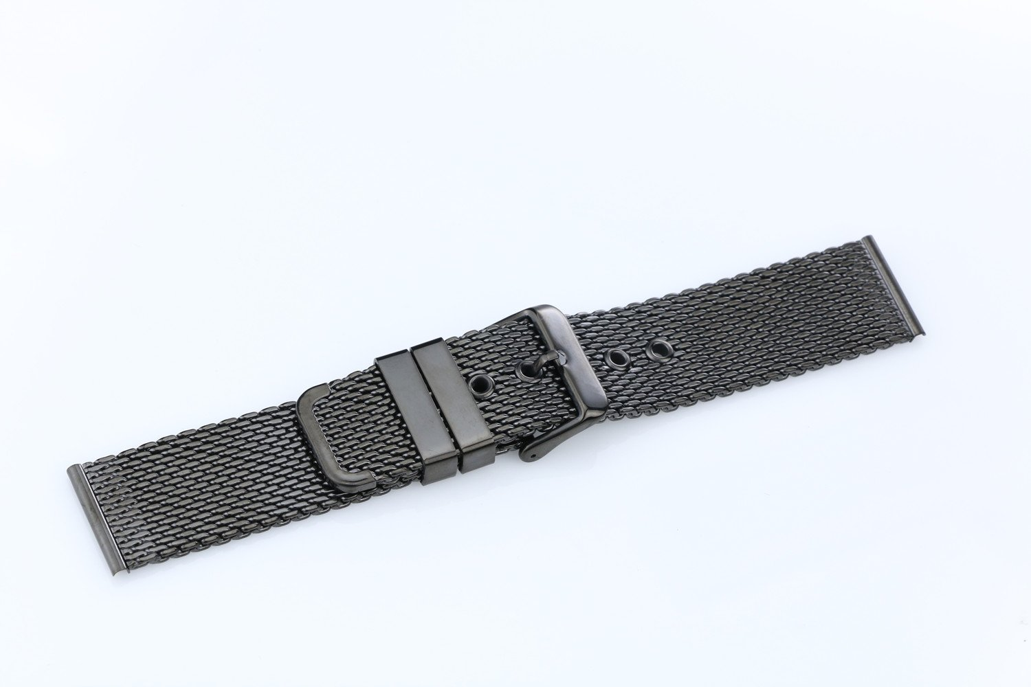 22mm High-Grade Black Stainless Steel Mesh Watch Band for Men Brushed Chain Watch Strap With Pin Clasp by autulet (Image #4)