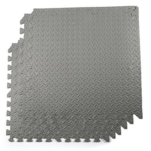 - Water-chestnut Puzzle Exercise Mat with Eva Foam Interlocking Tiles 6 Pcs 23.62'' x 23.62'' for Home and Gym Equipment Protective Flooring, Grey ...