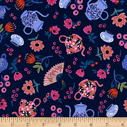 Cotton + Steel Rifle Paper Co. Wonderland Garden Party Navy Fabric By The Yard