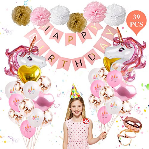 Unicorn Balloons Birthday Party Decorations - Unicorn Birthday Party Supplies Kit,Set of 39 Included Rose Gold Happy Birthday Banner ,Gold & Rose Gold Heart Balloons ,Paper Pom Poms for Baby Shower/Bi