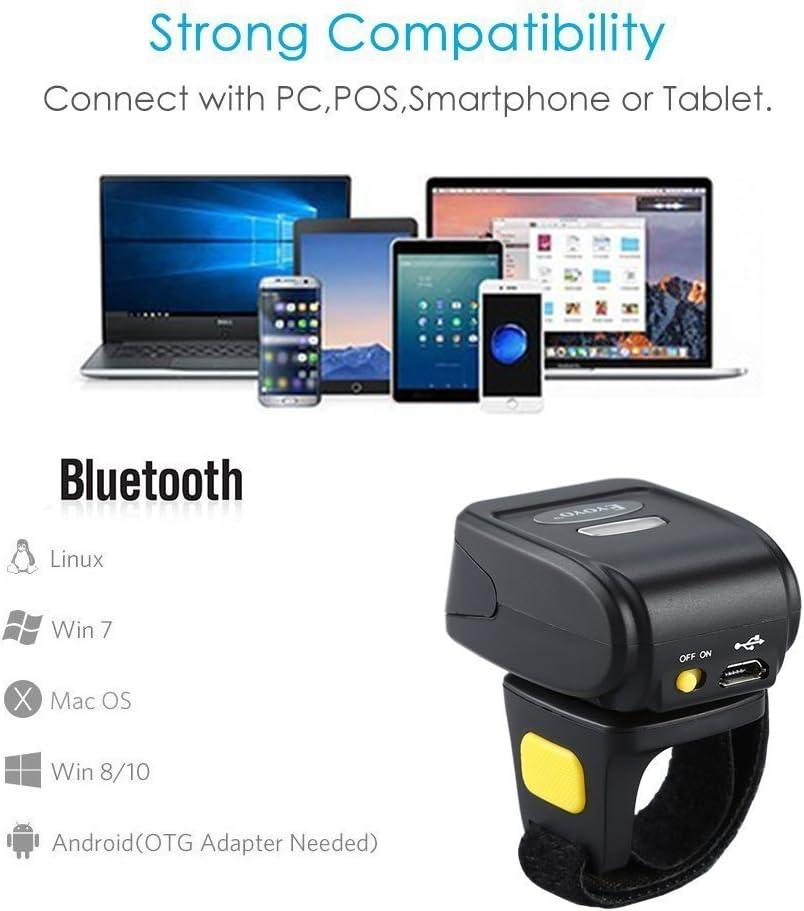 Eyoyo Portable Wearable Ring QR Barcode Scanner 1D 2D Mini bar Code Reader Support Scan PDF417 DataMatrix