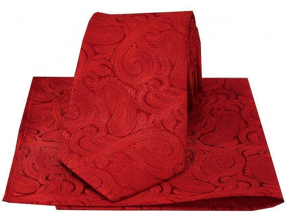 Red David Van Hagen Mens Paisley Tie and Handkerchief Set