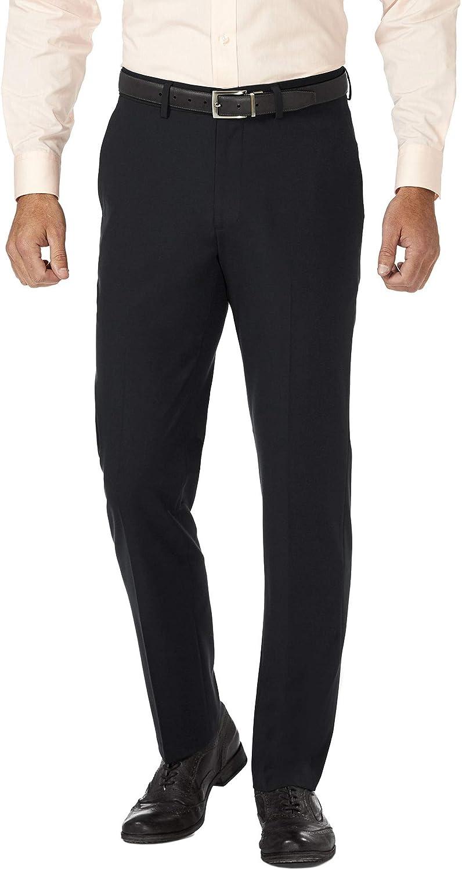 J.M Haggar Mens Solid Gab 4-Way Stretch Slim Fit Flat Front Dress Pant