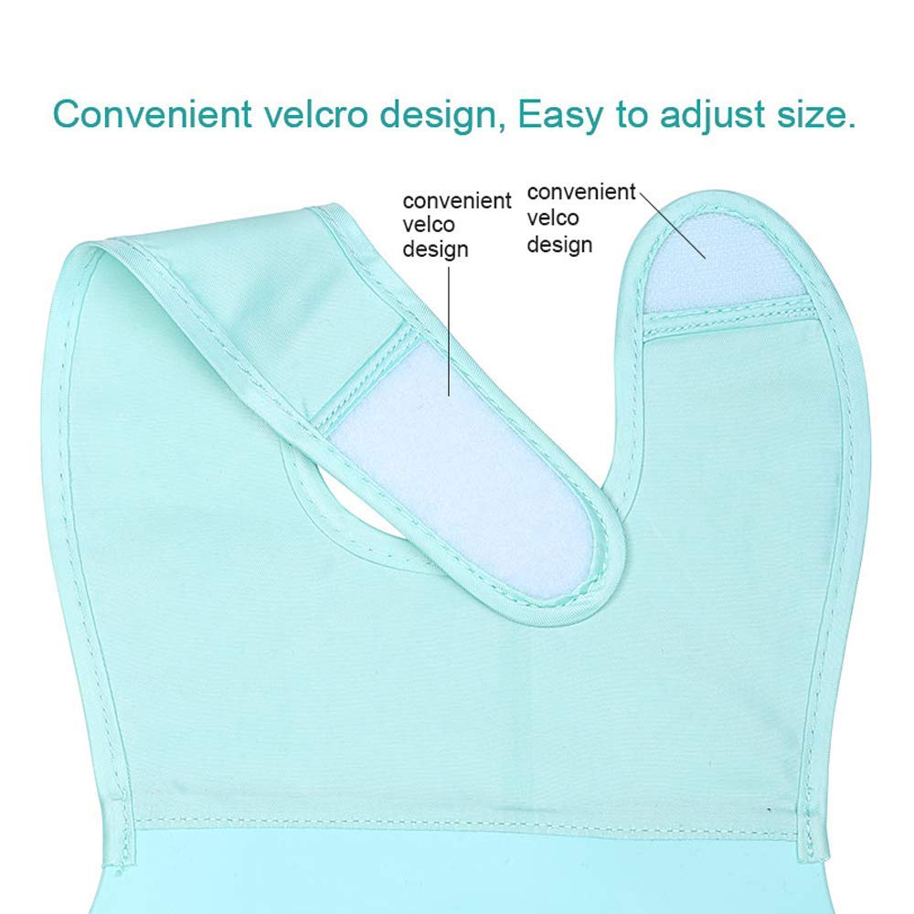 Waterproof Silicone Baby Bibs for Toddlers with Toddlers Training Spoon FDA Approved Cyan Oil Proof Easy Clean Comfort-Fit Fabric Neck