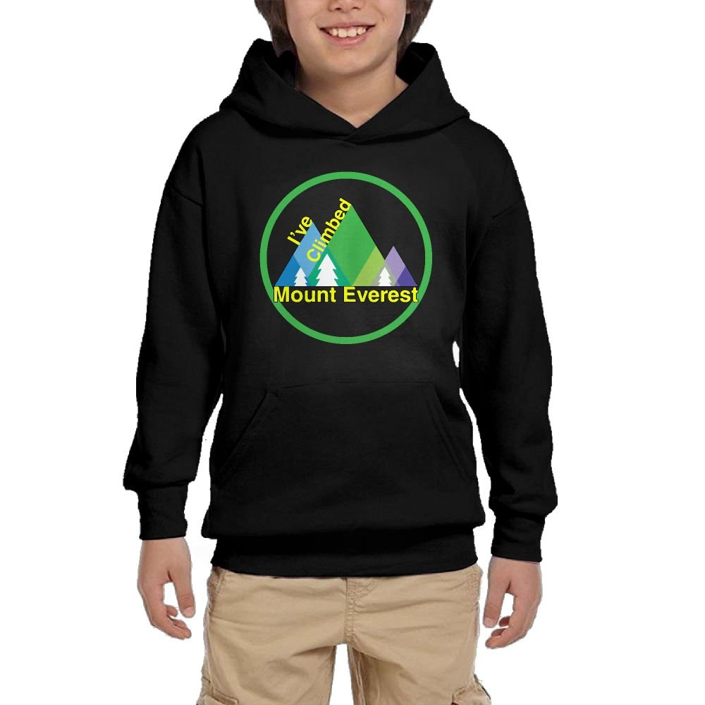 Youth Black Hoodie I've Climbed Mount Everest Hoody Pullover Sweatshirt Pocket Pullover For Girls Boys XL
