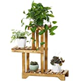 Sharpex Plant Stand Rack Indoor & Outdoor, 3 Tier Wood Plant Display Rack with Multi Shelves, Flower Pots Organizer Holder, Multifunctional Storage Rack for Patio Garden Yard – Brown