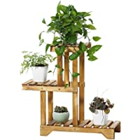 Sharpex Decorative Solid Wood Multi-Layer Wooden Plant Stand for Home & Garden, Indoor & Outdoor Plant Stand - Brown (66 X 50 X 25 cm)