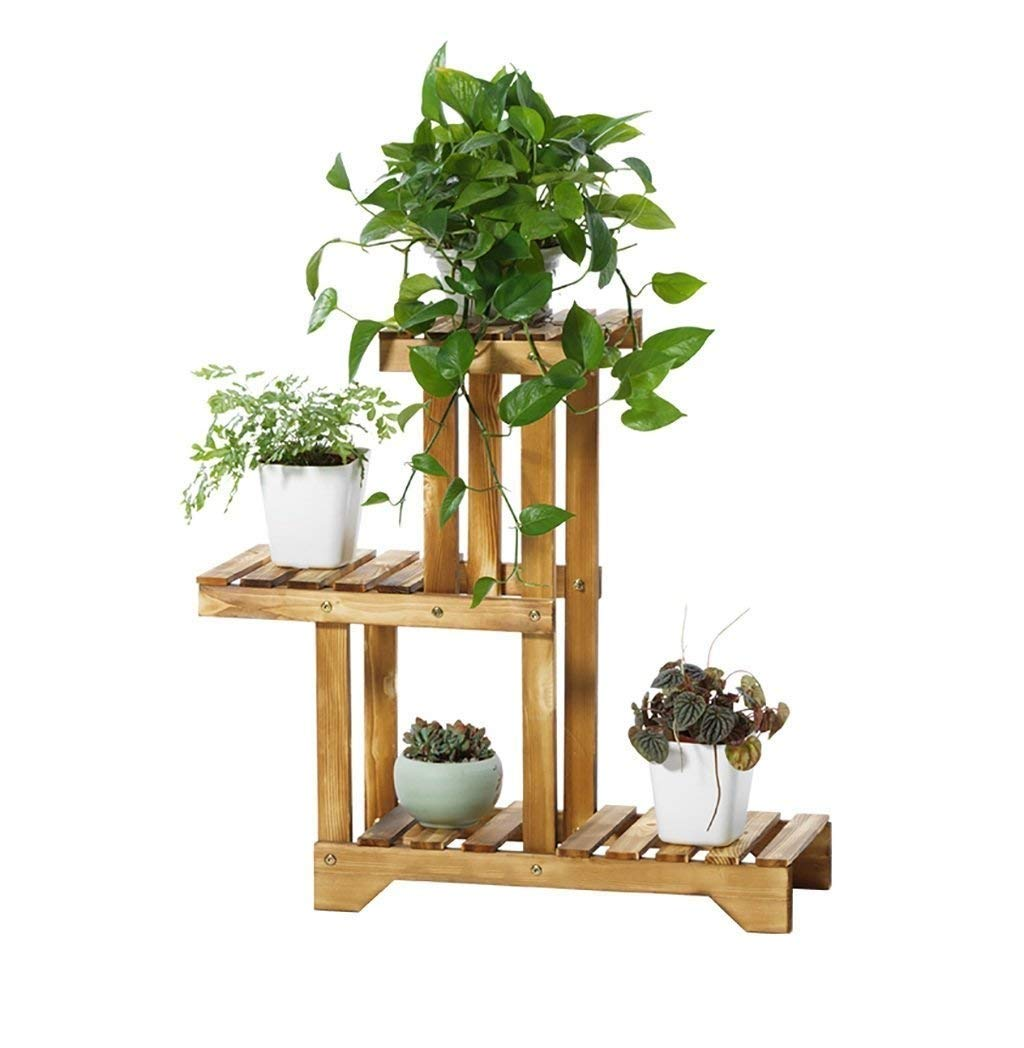 Sharpex Decorative Solid Wood Multi-Layer Wooden Plant Stand for Home & Garden, Indoor & Outdoor Plant Stand - Brown (66 X 50 X 25 cm) product image