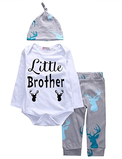 245c6a46908 Newborn Baby Boys Long Sleeve Deer Little Brother Romper Bodysuit Long Pants  Hat Outfit Clothes Set
