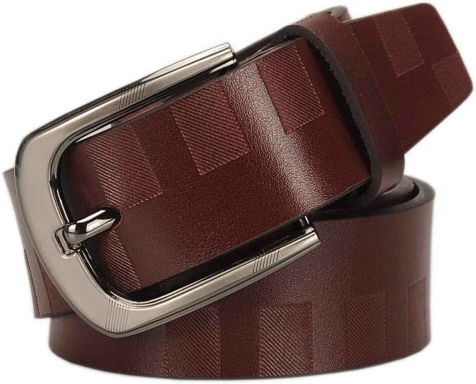 DENGDAI Mens Belt Belt Leather Fashion Striped Belt Metal Needle Buckle Head