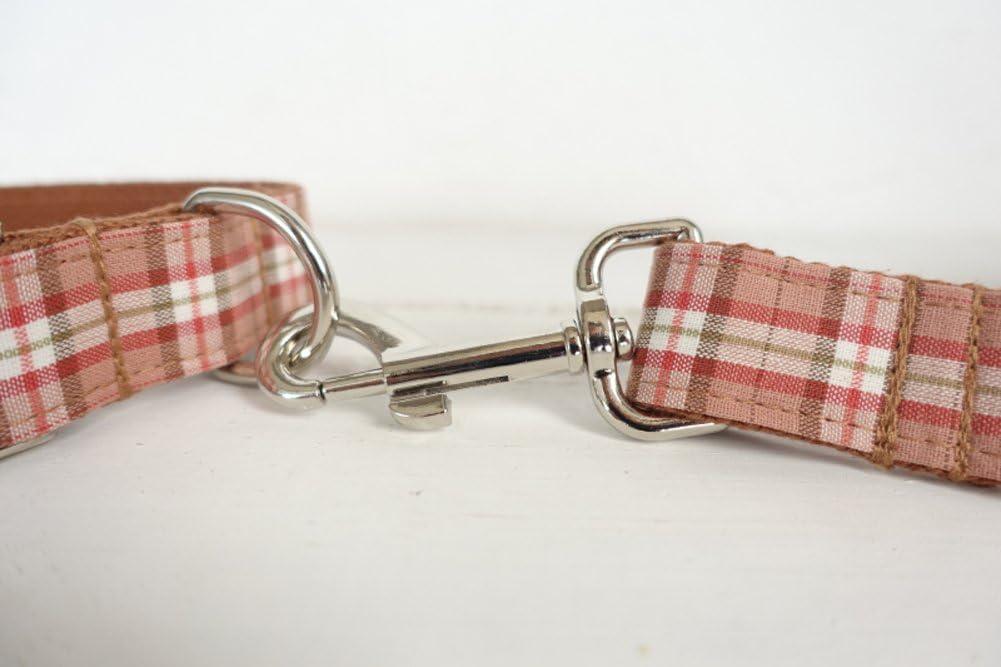 Penivo durevole Handmade lusso collare regolabile collari per cane 5/Dimensioni rosa arancione plaid in nylon con fibbia in metallo per cani Small Medium Large Pet