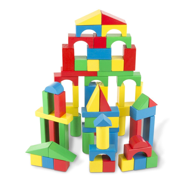 Melissa & Doug Wooden Building Blocks Set, Developmental Toy, 100 Blocks in 4 Colors and 9 Shapes, 13.5'' H x 3.5'' W x 9'' L