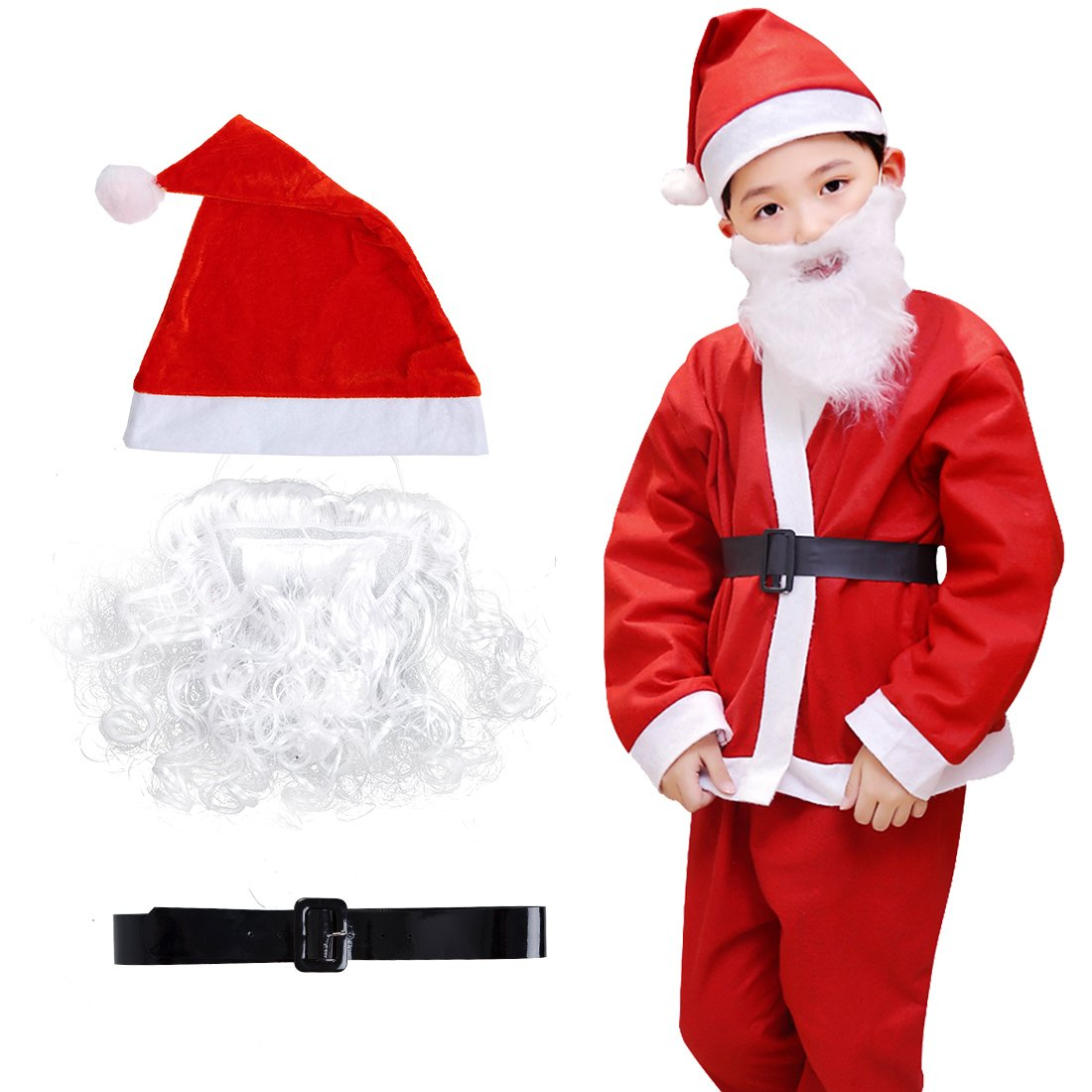 Christmas Santa Costume Set for Kids Boys 5pcs Christmas Costume Cosplay Outfit with Santa Hat Belt Red (Red)
