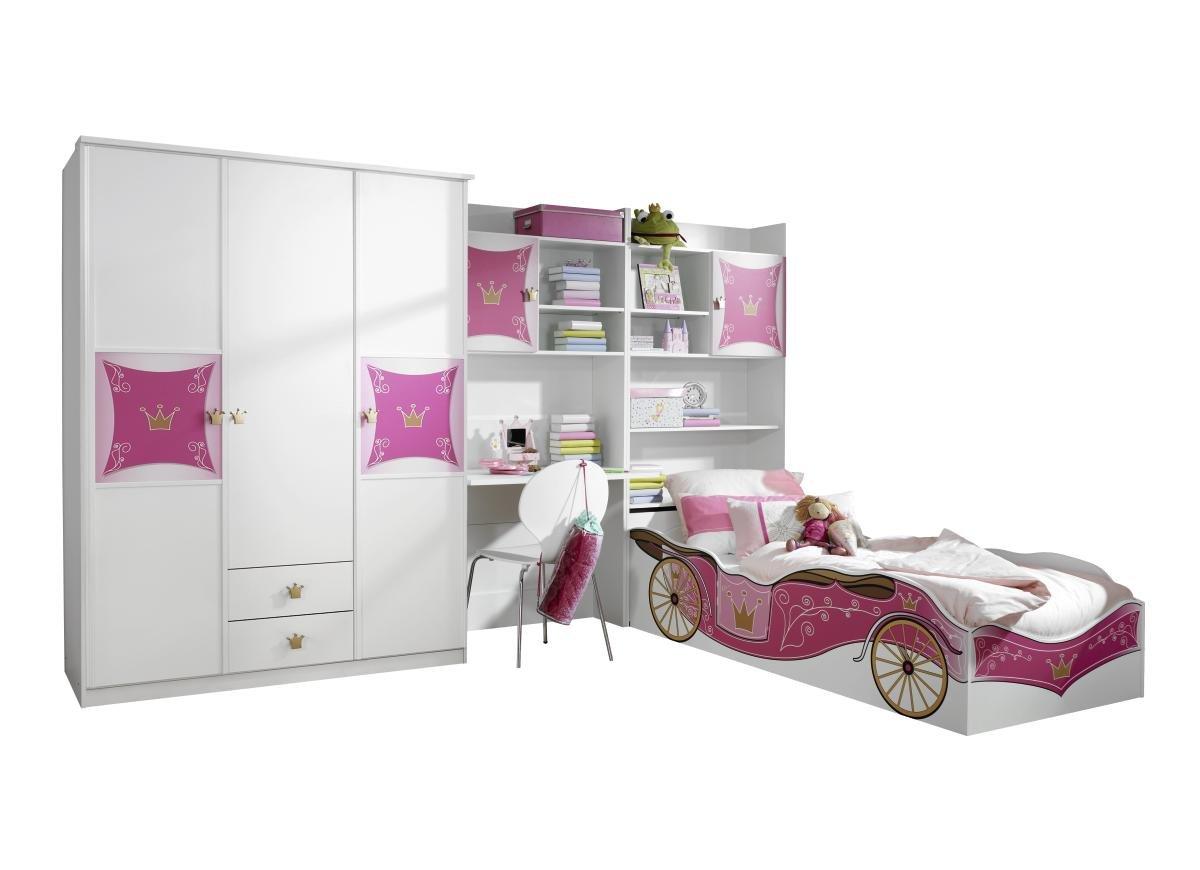 Rauch A9830.0B75.90 Jugendzimmer Kate, Absetzungen, 4-teilig, 326 x 199 x 238 cm, alpinweiß / rosa