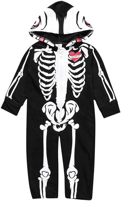 Deguisement Halloween Citrouille Enfant Unisexe Gar/çon Fille Combinaison /à Capuche Squelette cr/âne Pas Cher Longra Costume B/éb/é V/êtements kit