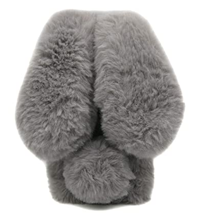 ac3534f2f7e Furry Case Ears iPhone 7 Plus Grey, Fluffy Rabbit Case iPhone 8 Plus,  Fashion Pom Pom Faux Furry Bunny Case iPhone 7 Plus & iPhone 8 Plus Soft  Hairy Fuzzy ...