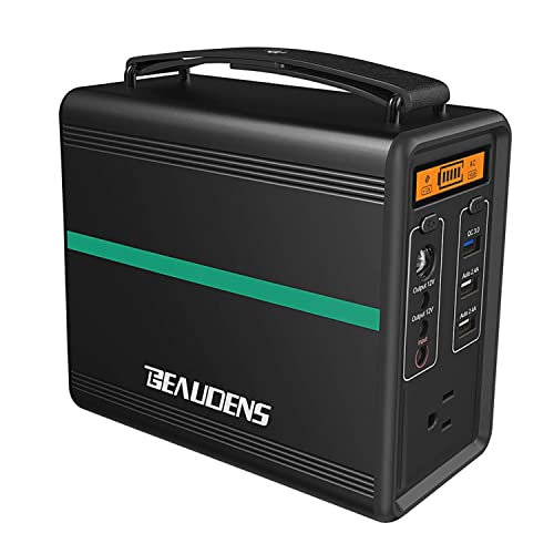 BEAUDENS Portable Power Station, Lithium Iron Phosphate Battery LiFePO4, 2000 Cycles, 10 Years Life, 166Wh 110V 150W AC Outlet, Solar Generator for Outdoors Camping Travel Fishing Emergency Backup