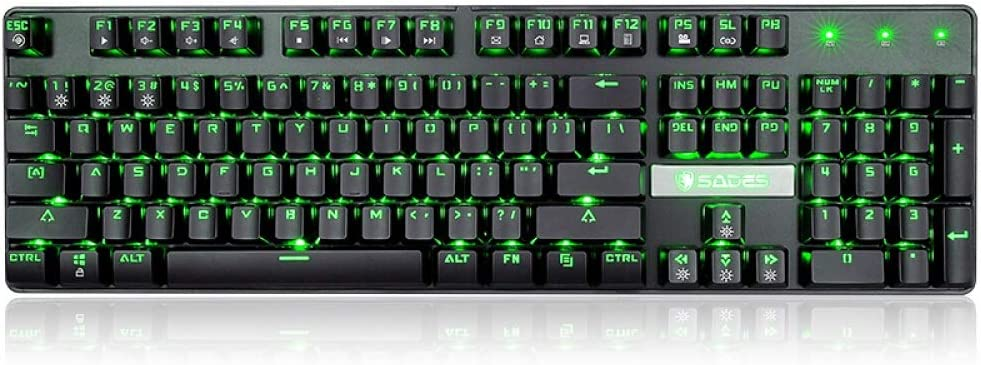 XIAONINGMENG Mechanical Keyboard USB Wired Keyboard Gaming Keyboard Monochrome Backlight 104 Keys Peripheral Illuminated Marquee White Mixed Light//Black Green Light Green Axis Computer Accessories