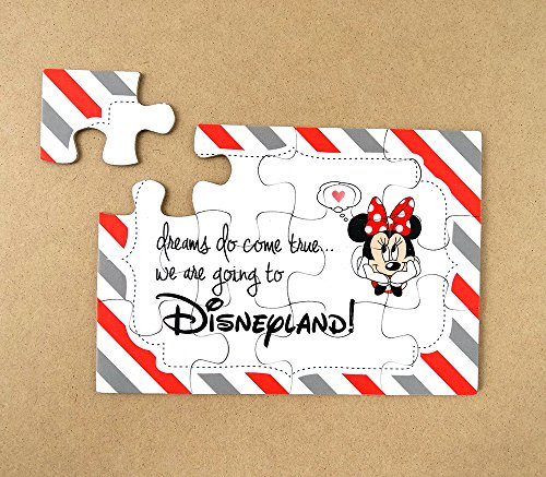 (ONE) We are going to Disneyland, Surprise Puzzle, Invitation, Girl, Red, Black & White, Minnie Mouse, White Organza Pouch (Minnie Mouse Invitations Red)