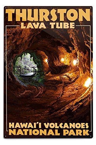 (Lantern Press Hawaii Volcanoes National Park - Thurston Lava Tube (12x18 Aluminum Wall Sign, Wall Decor Ready to Hang))