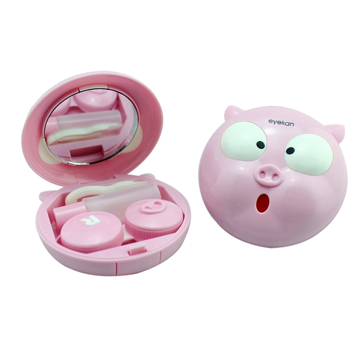 Zcargel New Arrival Cute Cartoon Pink Pig Travel Contact Lens Case Kit Container