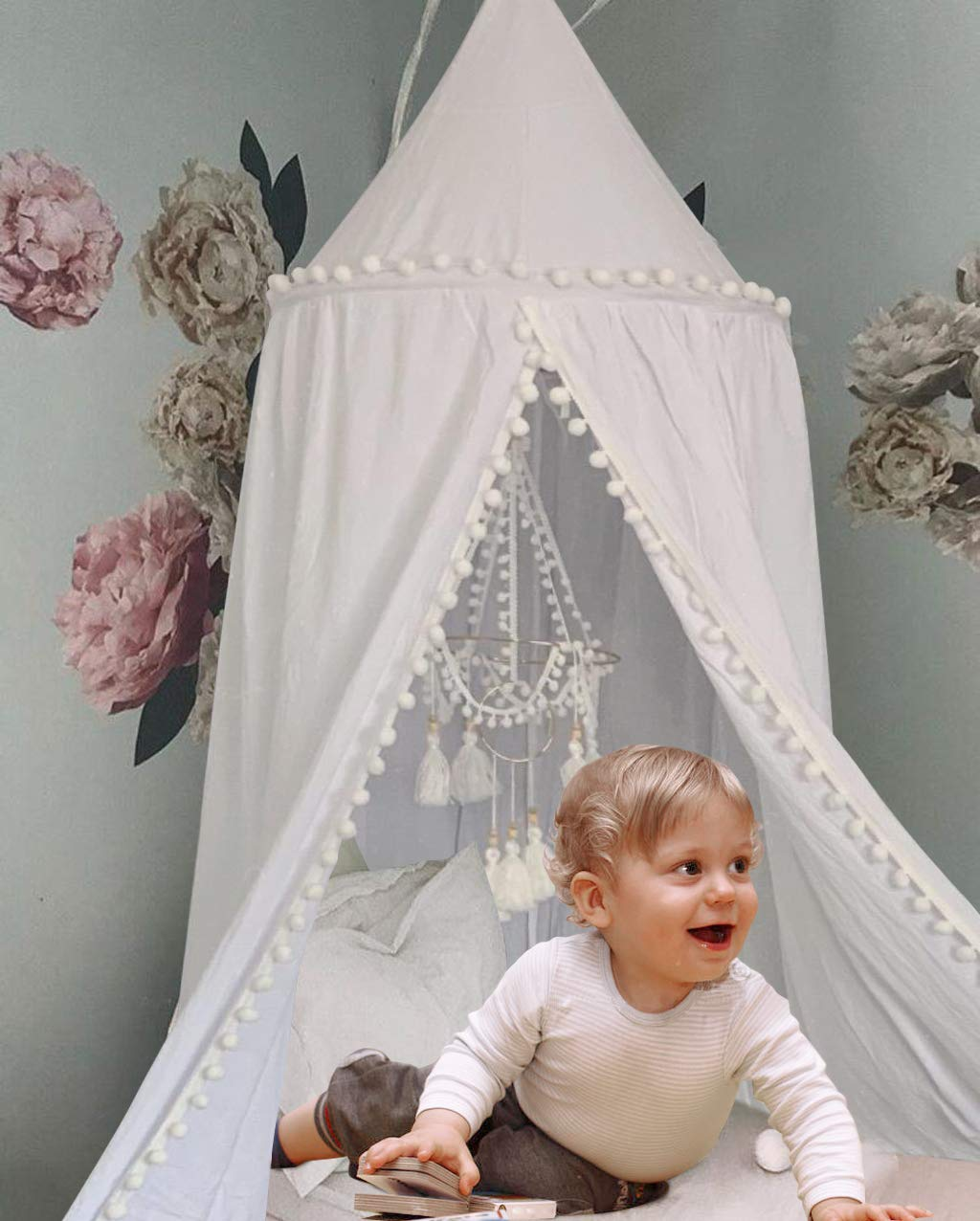 Crib Bed Canopy for Girls Bed with Pom Pom, Cotton Dome Mosquito Net for Baby, Kids Indoor Outdoor Playing Reading, Bedroom Decoration (White)