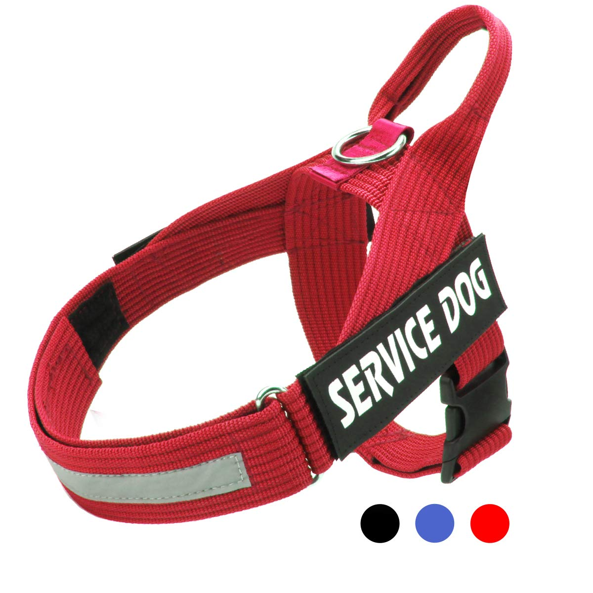 Red M  chest 22-29'' (56-74 cm) Red M  chest 22-29'' (56-74 cm) Bolux Heavy Duty No Pull Dog Harness Reflective Adjustable Nylon Webbing Harness Medium & Large Dogs(Red,M)