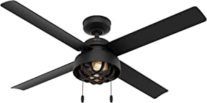 "HUNTER 50336 Spring Mill Indoor / Outdoor Ceiling Fan with LED Lights and Pull Chain Control, 52"", Matte Black"