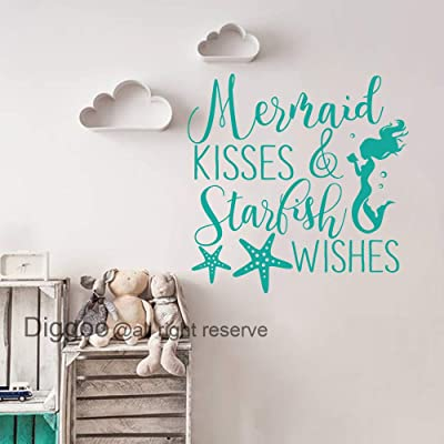 """Mermaid Kisses and Starfish Wishes Wall Decal Quote Mermaid Wall Decal Nautical Nursery Decor Girls Bedroom Decals (Teal,28"""" h x 28"""" w): Home & Kitchen"""