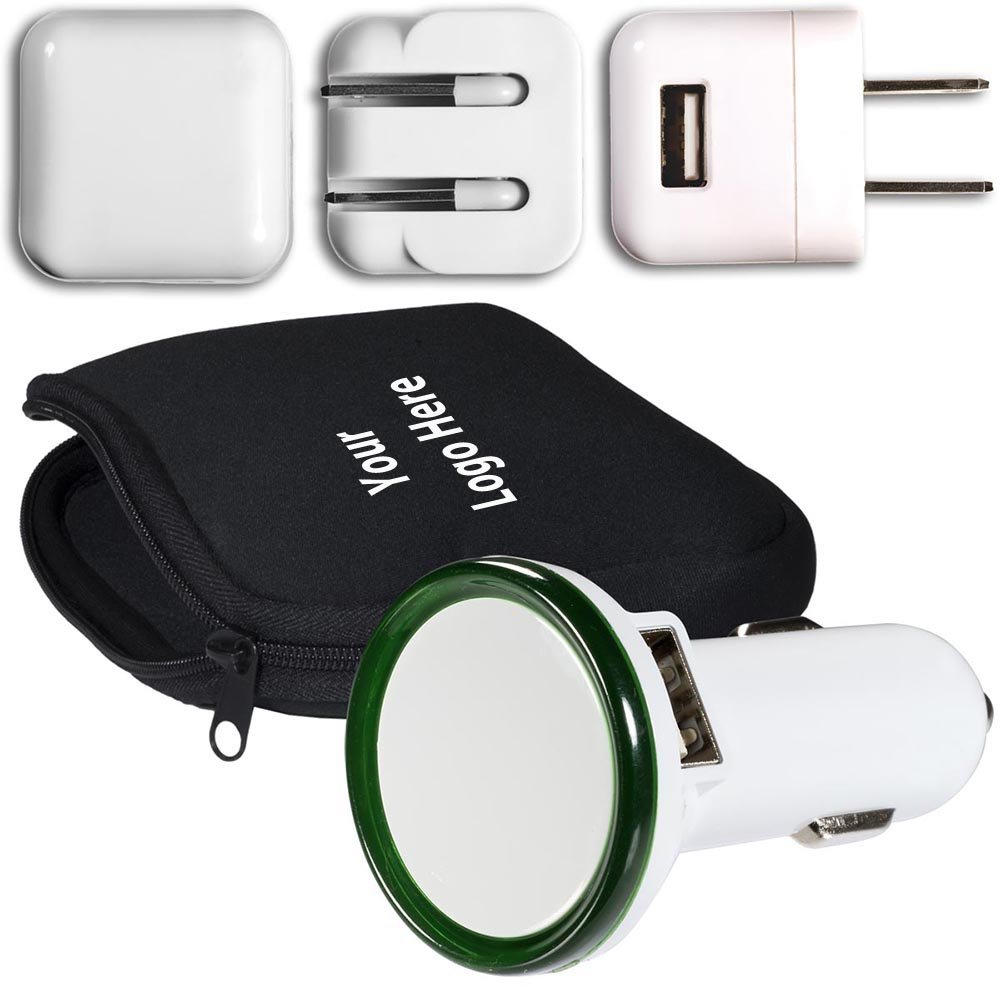 Travel Chargers Kit - 25 Quantity - $23.99 Each – PROMOTIONAL PRODUCT / BULK / Branded with YOUR LOGO / CUSTOMIZED