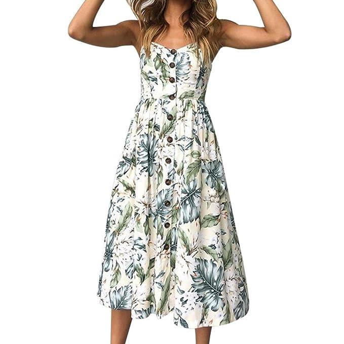 Vestido para Mujer, Koly Atractivo Impresión Vintage Mujer Verano Guay sin Mangas Beach Printed Mini