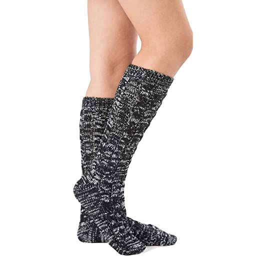 fa5bdcdf4ea05 Women Knee High Knitted Wool Crochet Thread Vintage Over Calve TubeThick  Winter Leg Warmer Hiking Boot