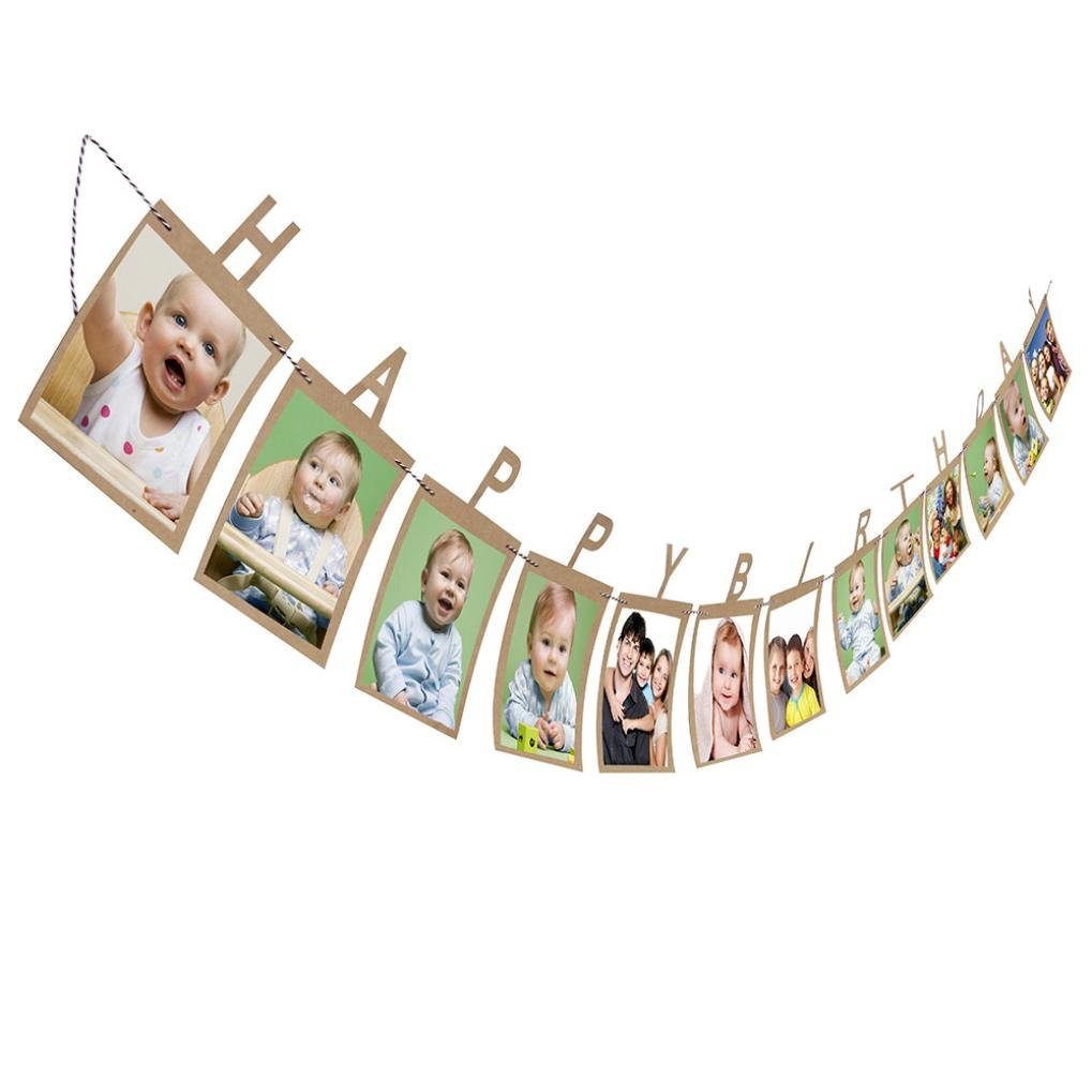 Creazy 13Pcs Creative Happy Birthday Paper Photo Frame Wall Hanging Picture Album
