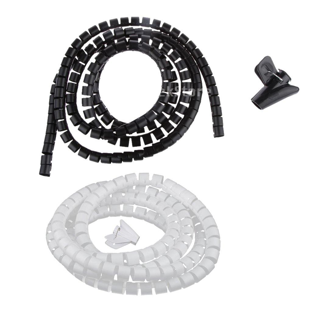 MagiDeal 2 Pezzi 20m Involucro a Spirale Flessibile Cavo Gestione Cablaggio Cavo per Casa Ufficio Negozio 4330931473