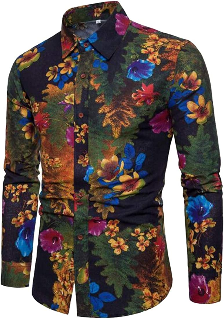 Domple Mens Casual Long Sleeve Linen Printed Regular Fit Button Up Dress Shirt