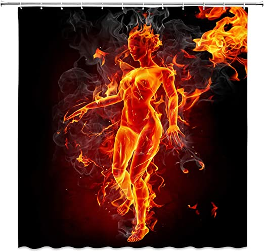 Nude Woman Shower Curtain Fire Burning Groping Forward Black Red Bathroom Decor Accessories 70x70inches Waterproof Polyester Fabric Amazon Ca Home Kitchen