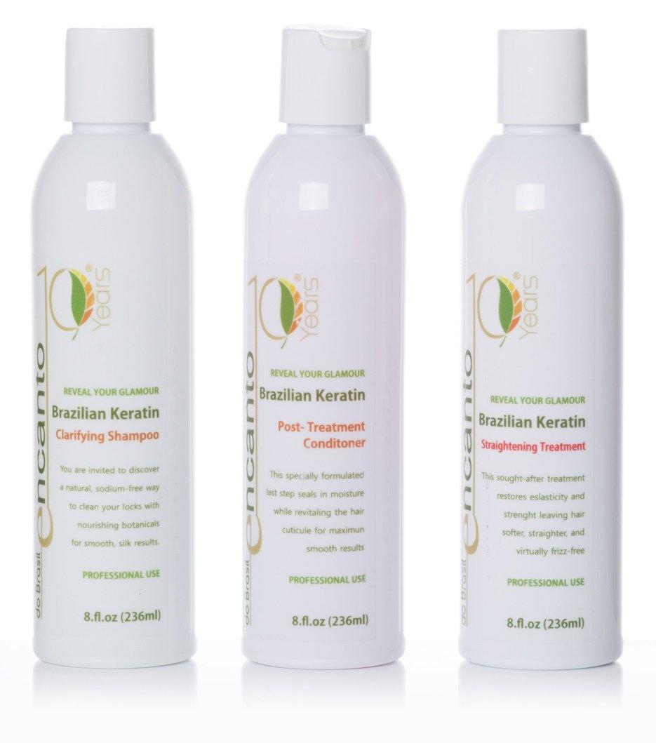 ENCANTO Brazilian Keratin Treatment Hair Straightening BLOW DRY BLOWOUT HAIR KIT, 3 x 100ml