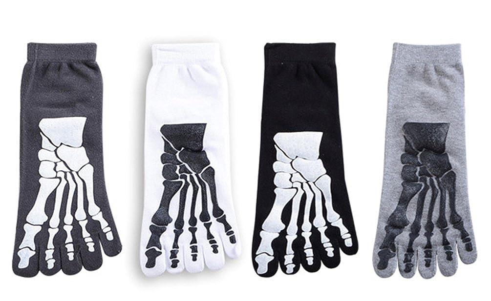 MOHSLEE Mens Five Finger Toe Socks Unisex Skull Skeleton Halloween Sock 4 Pack