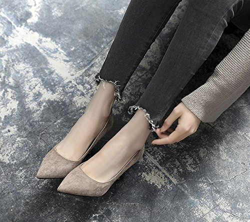 Work 38 All Cat With With Elegant Heels Leisure MDRW A Sexy Gray Work High Fine 8Cm Pointed Spring Lady The Match Shoes fgxwR